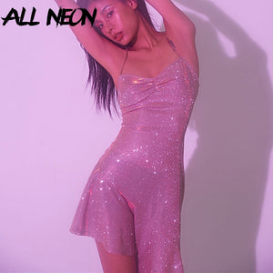 ALLNeon Glitter Dresses for Women Straped Criss-Cross Bandage Backless Mermaid Dresses Club Wear Evening Party Sequins Dresses