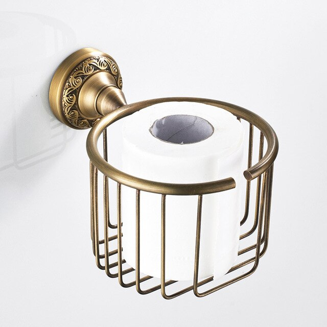 European Brass Bathroom Hardware Set Retro Towel Rack Paper Holder Bathroom Accessories Pendant Set ship form Russia/Israel