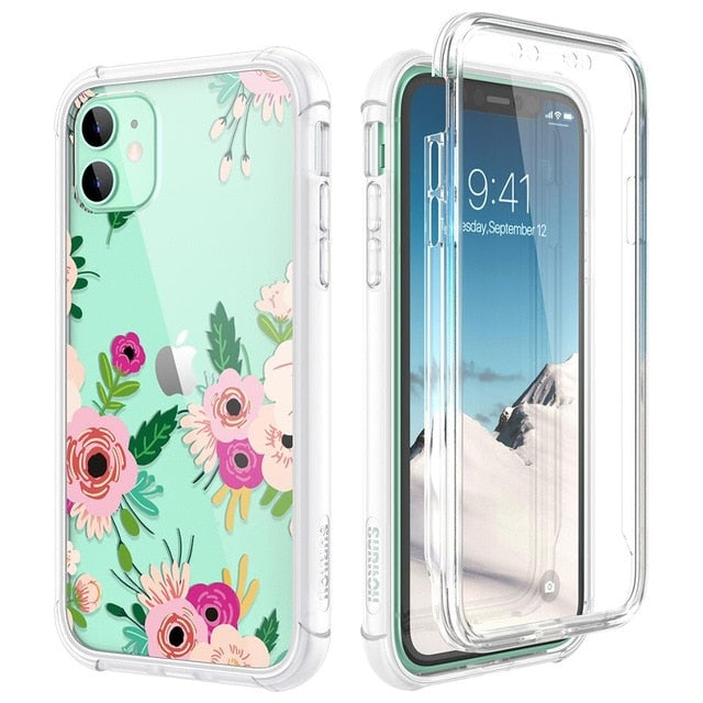 Clear case for iPhone 11 pro Max case with Built-in Screen Protector hard TPU Back Flowers Transparent Cover Silicone Phone Case