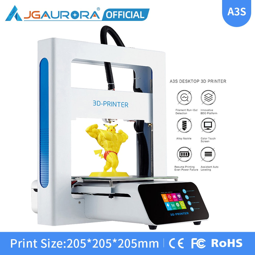 JGAURORA A3S 3D Printer Updated Prusa Ramps with Large Build Size Ship from Factory Directly or USA/UK/Germany/Russia Warehouse