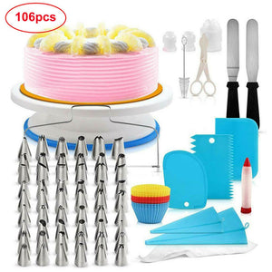 (ship from USA) 106pcs/Set Cake Decorating Supplies Pieces Kit Food Grade Material Baking Tools Turntable Stand Pen