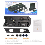 2in1 PS4 Pro/ PS4 Slim Vertical Stand with Cooling Fan Cooler Dual Controller Charger Charging Station Heating Dissipation Stand