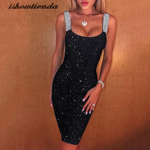 Summer Dress 2020 Women Sexy Sleeveless Glitter Shimmer Backless Sheath Dress Party Club Cocktail Sukienki Damskie Eleganckie