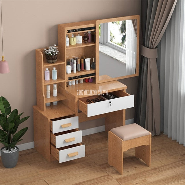 C918/C501 Simple Modern Dresser Household Bedroom Dressing Table Density Board Makeup T able With Mirror Drawer Lock Stool