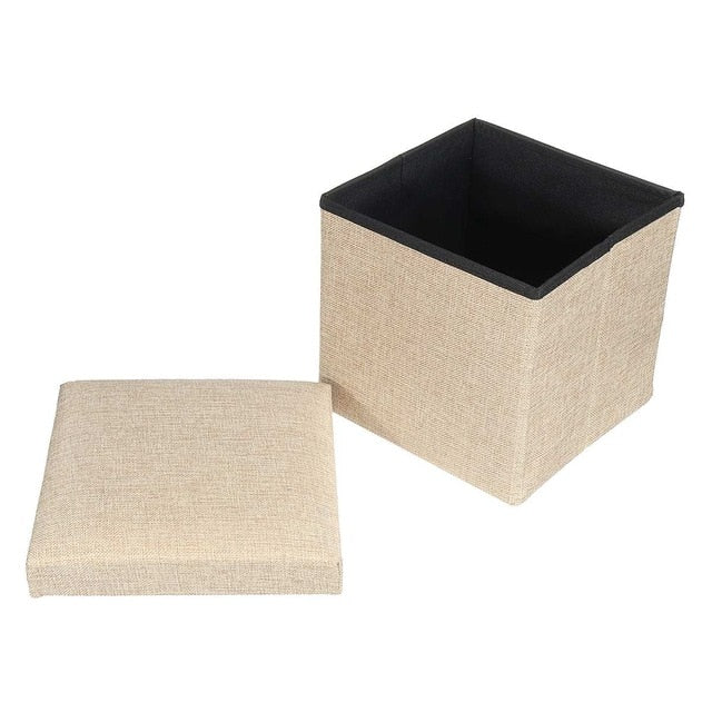 25x25x25CM Multifunctional Foldable Fabric Storage Stool Bench Box Small Sofa Minimalist Artistic Style Kid Chair Foot Stool
