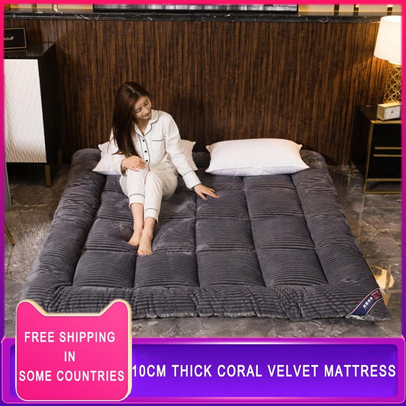 10cm comfortable Soft Foldable Tatami Mattress winter single double Thick warm Milk velvet topper Mattress twin queen king size