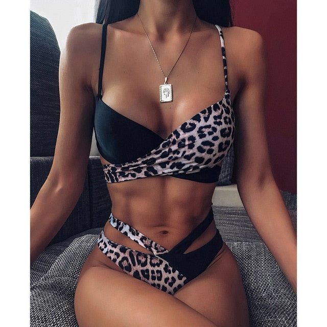 2021 Summer Sexy Bikini Set Women High Waist Leopard Snake Print Split Swimsuit Push Up Bandeau Thong Brazilian Biquini Swimwear