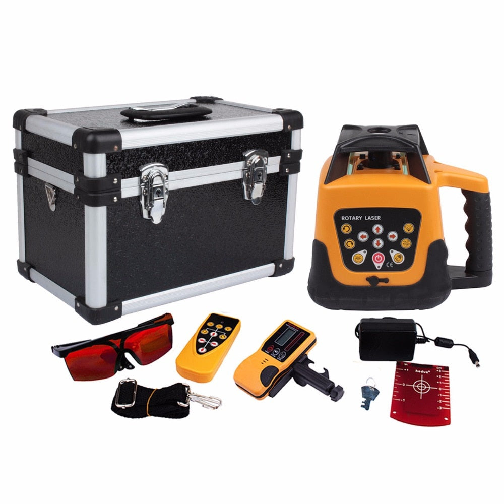 (Ship from USA) Amonstar Outdoor Automatic Self-leveling Rotary Laser Level 500m Range Remote Control Red beam