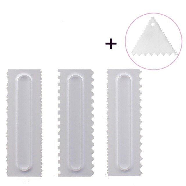1pc/3pcs Cake Decorating Comb Icing Smoother Cake Scraper Pastry 6 Design Textures Baking Tools VIP for Cake Tool ship from USA