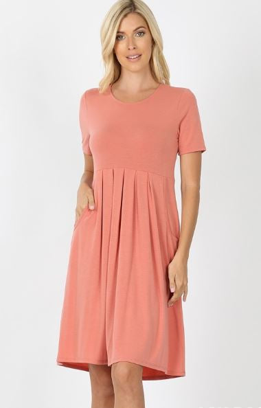 SS Pleated Waist Dress