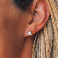 Gemstone Triangle Stud Earrings