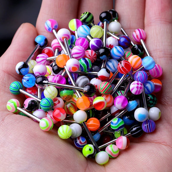 10/20/30Pcs Stainless Steel Tongue Piercing Ring Mix Tongue Barbell Lot Ear Nipple Piercing Ring 2020 - mbrbproducts