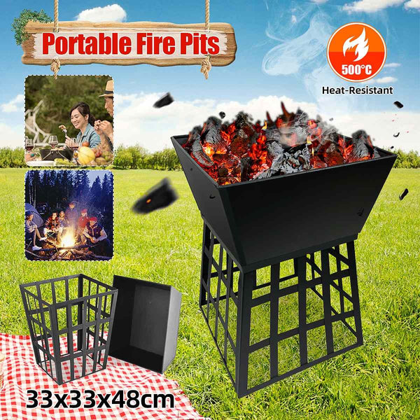 500°C Iron Large Fire Pits Cast Iron Firepit Stylish BBQ Burn Pit Outdoor Garden Patio - mbrbproducts