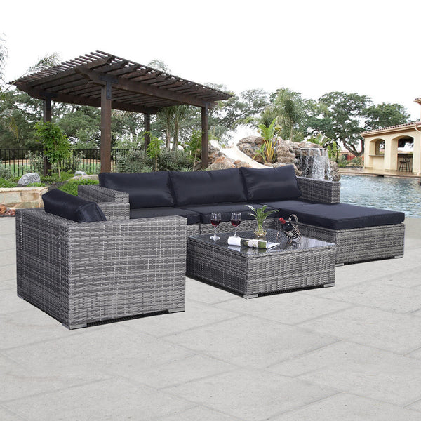 Patio Sofa Furniture Rattan Couch Outdoor  6pc - mbrbproducts