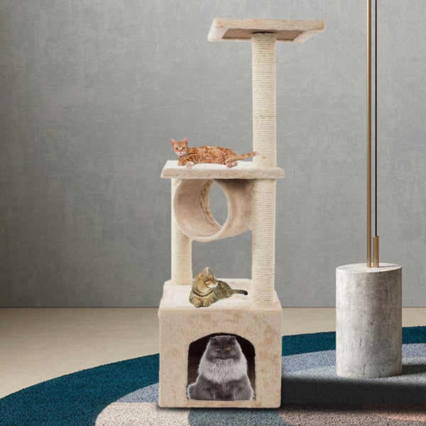 Cat Tree Play Tower Bed Furniture Scratch Post Tunnel Toy Mouse White Pet - mbrbproducts