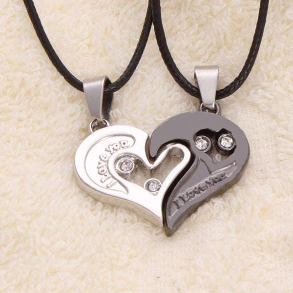 1 pair Fashion Couple Heart Shape I Love You Pendant Necklace Unisex Lovers Couples Jewelry Fashion 2020 - mbrbproducts