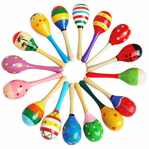 1Pc Colorful Wooden Maracas Baby Child Musical Instrument Rattle Shaker Party Children Gift Toy 2020 - mbrbproducts