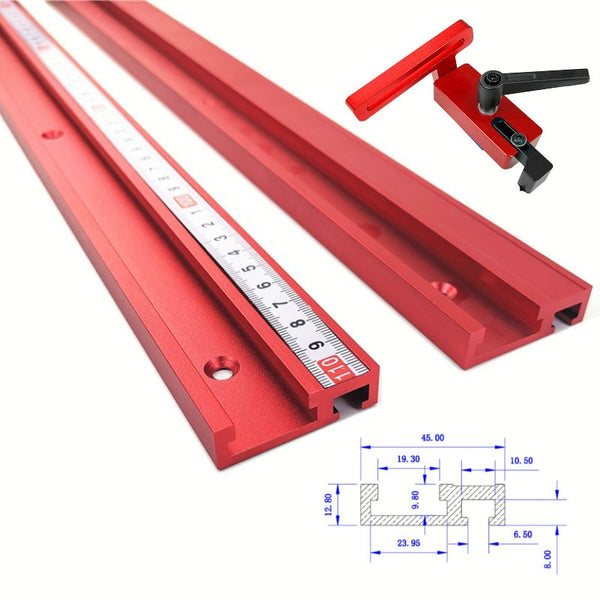 Chute Aluminium alloy T-tracks Model 45 T slot and Standard Miter Track Stop Woodworking Tool 2020 - mbrbproducts