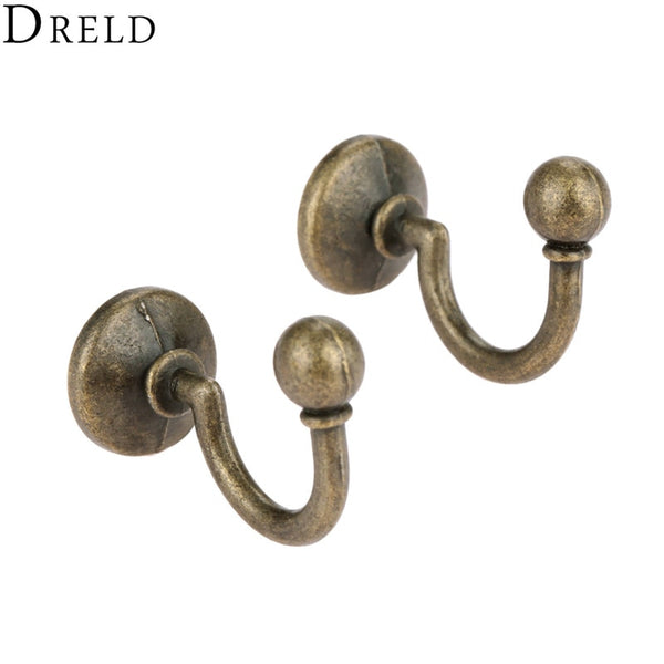 DRELD 2pcs Antique Bronze Hooks Alloy Wall Hanger Hat Coat Robe Hooks Bathroom Kitchen Hooks 2020 - mbrbproducts
