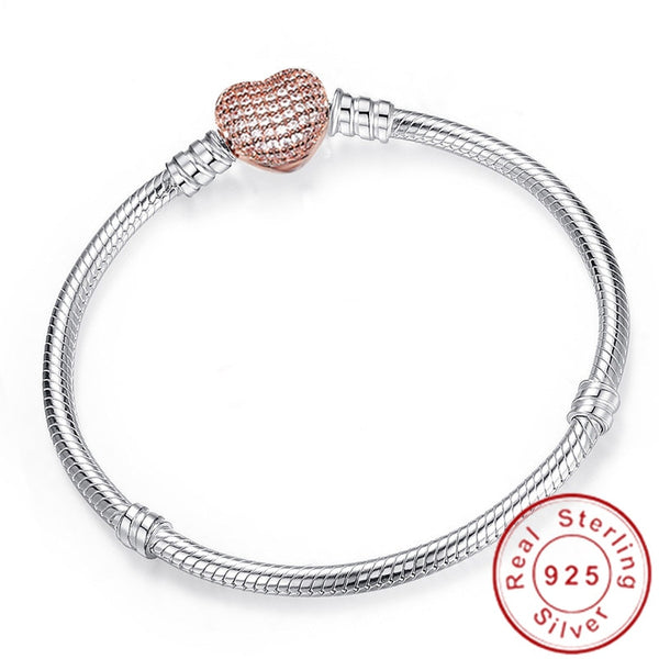 925 Silver Heart Shaped Snake Chain Charm Bracelet For Women Brand Bracelet Bangle DIY Jewelry - mbrbproducts