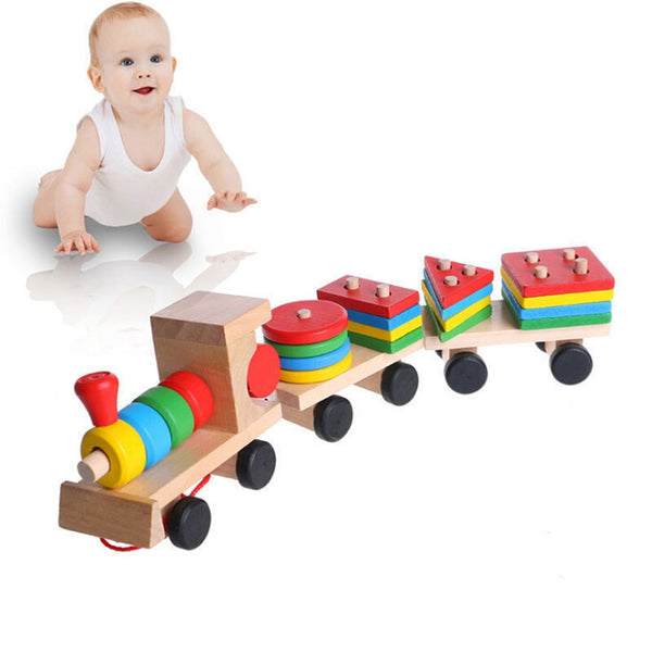 Hot Selling 2020 Kids Baby Developmental Toys Wooden Train Truck Set Geometric 2020 - mbrbproducts