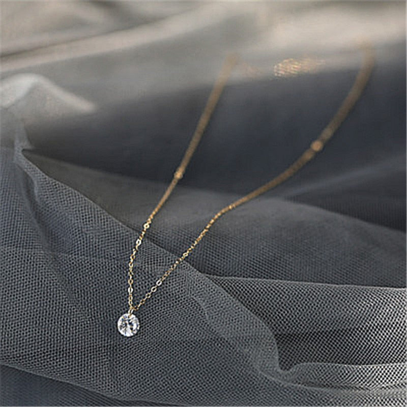 925 Sterling Silver Pendant Necklace Round Crystal Fine Jewelry For Women Romantic Engagement - mbrbproducts