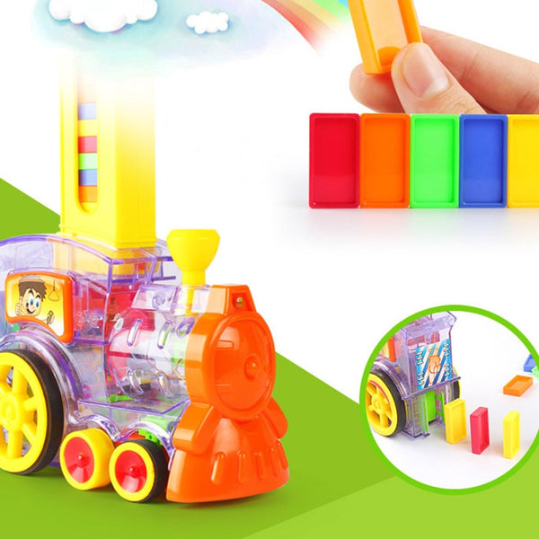 Kid Automatic Domino Brick Laying Train Toy Colorful Plastic Dominoes Set Vehicles Set With Transparent  2020 - mbrbproducts