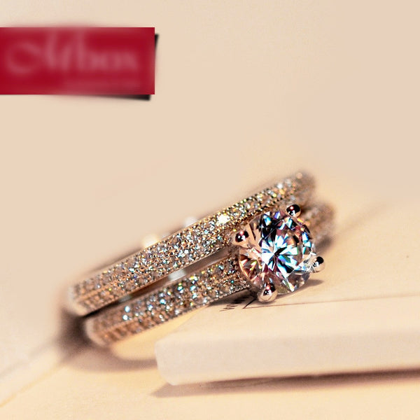 Luxury Female Crystal Bridal Ring Set Fashion Silver Color Wedding Band Jewelry Promise Love 2020 - mbrbproducts