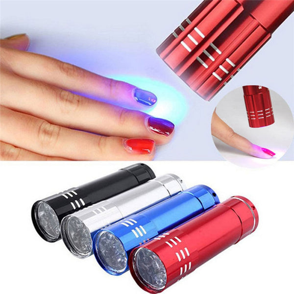 Nail Dryer Mini 9 LED Lights Flashlight UV Lamp Portable Nail Gel Mask Fast Drying Manicure Tool - mbrbproducts