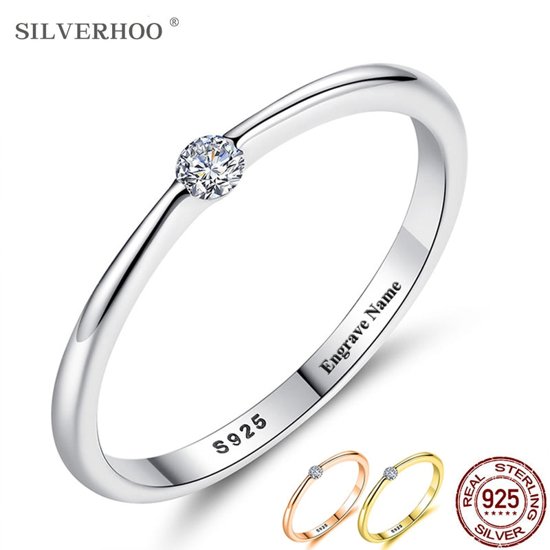 925 Sterling Silver Rings for Women Cute Zircon Round Geometric 925 Silver Wedding Fine Jewelry - mbrbproducts