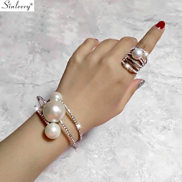 Wedding Jewelry Sets Big Pearl Multilayer Bracelet Bangle Rings Set Women Silver - mbrbproducts