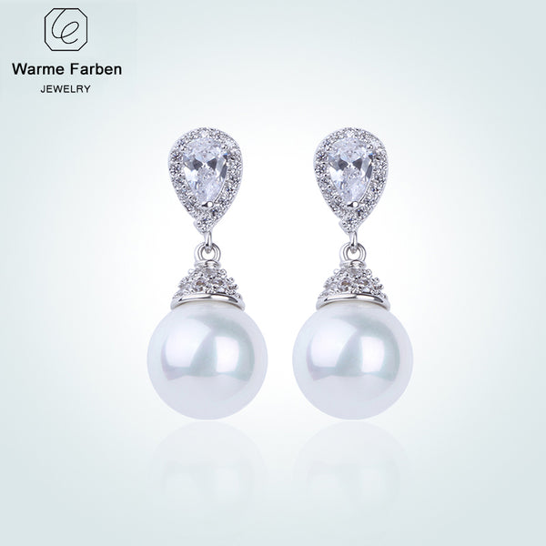 925 Earring for Women Crystal from Swarovski Elegant Pearl Drop Earrings Fashion Jewelry Earrings for Wedding - mbrbproducts