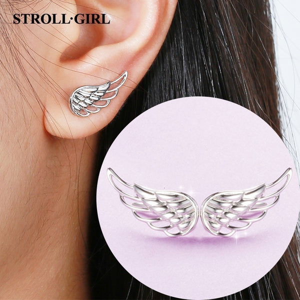 925 Sterling Silver Earrings 2019 Hollow Feather Fairy Wings Stud Earrings for Women Fashion - mbrbproducts