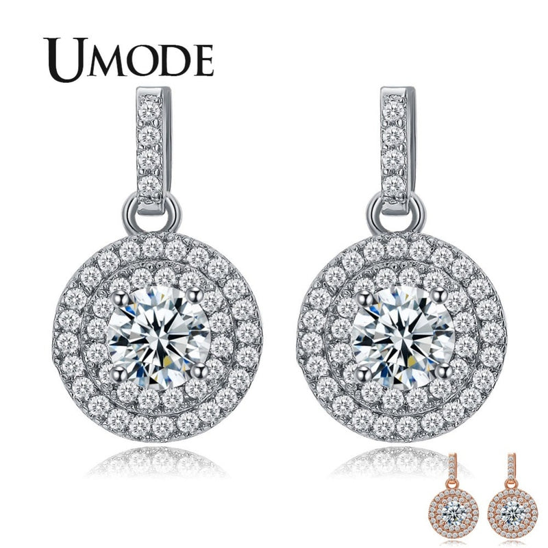UMODE Latest Halo 5mm 0.5ct CZ White / Rose Gold Color Drop Earrings Jewelry - mbrbproducts