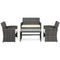 Wicker Patio 4-Piece Conversation Furniture Set w/ 4 Seats, Table, Tempered Glass Tabletop, 3 Sofas, Weather-Resistant Cushions - Gray - mbrbproducts