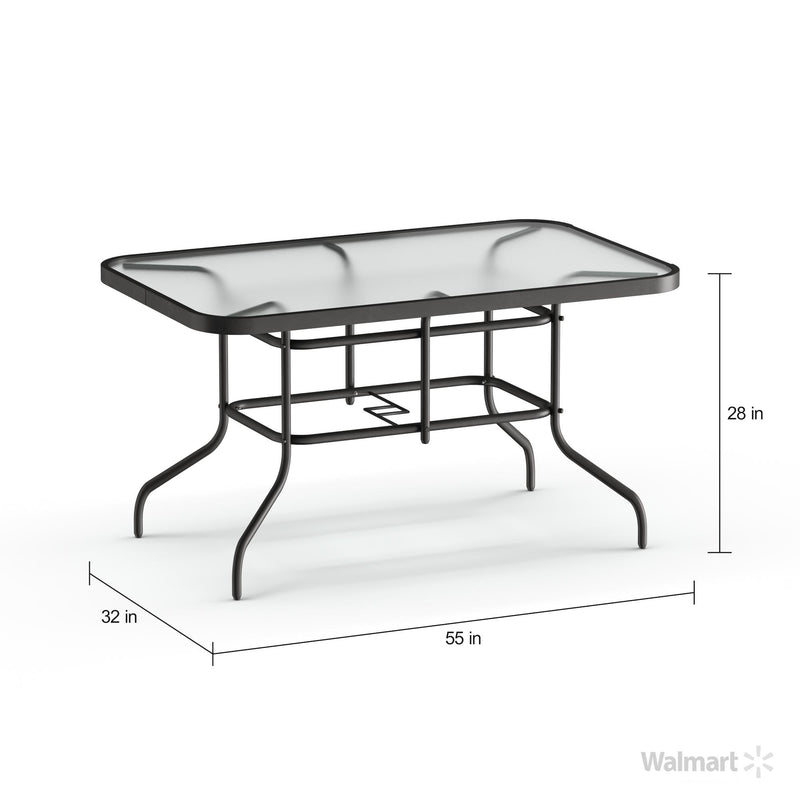 "Flash Furniture 31.5"" x 55"" Rectangular Tempered Glass Metal Table - mbrbproducts"
