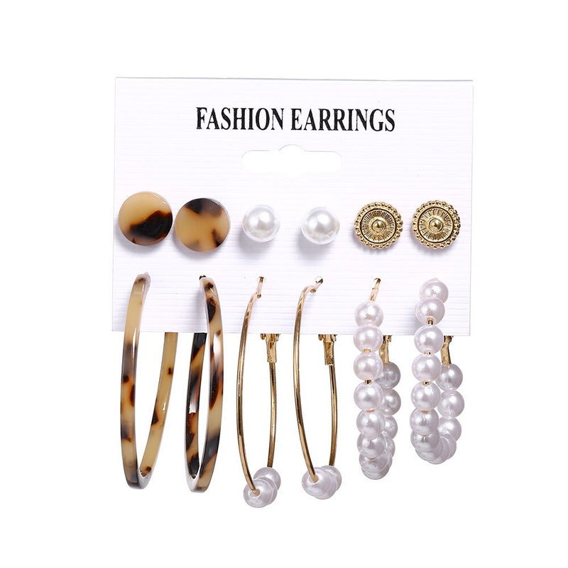 2020 Bohemian Leopard Acrylic Pearl Earrings Set Women Fashion Geometry Tassel Handmade Earrings - mbrbproducts