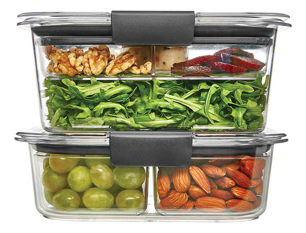 Brilliance Food Storage Container, Salad and Snack Lunch Combo Kit, Clear, 9 Piece Set - mbrbproducts