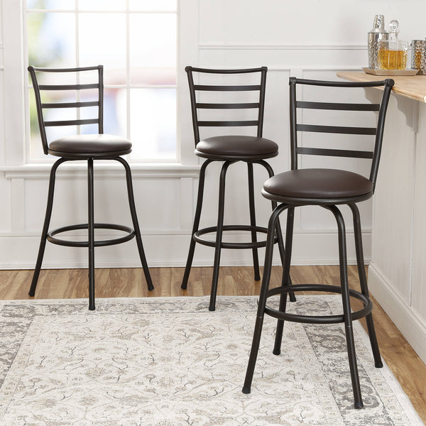 Mainstays Adjustable-Height Swivel Barstool, Hammered Bronze Finish, Set of 3 - mbrbproducts