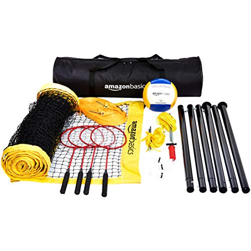 Basics Outdoor Volleyball And Badminton Combo Set With Net - mbrbproducts