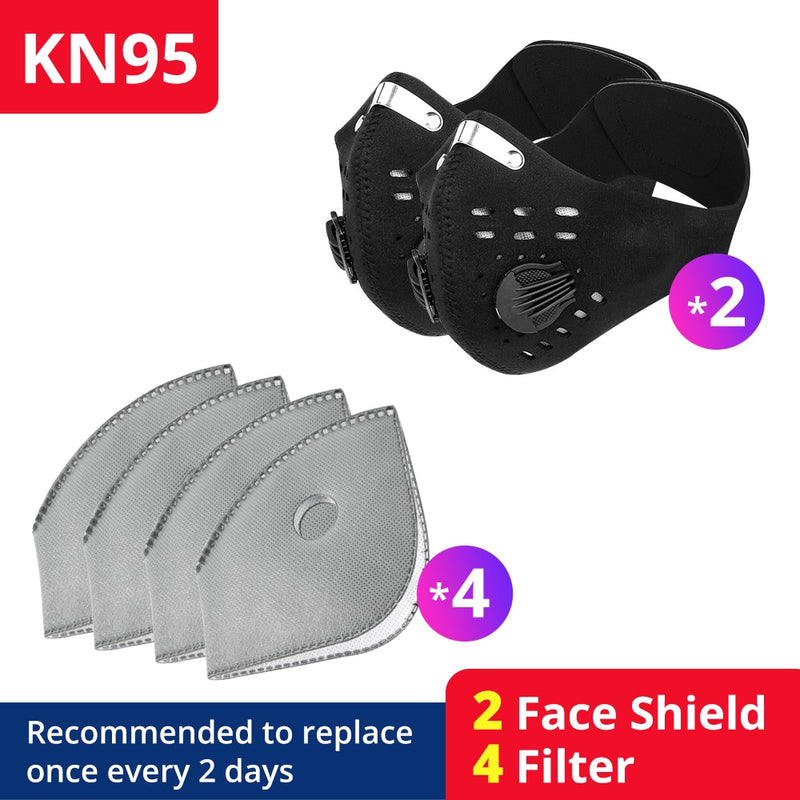 masks Filter Bicycle PM 2.5 Activated Carbon Breathing Valve Masks With 2 Filter Cycling Face Masks KN95 - mbrbproducts
