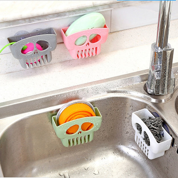 Skull Sink Side Shelf Sponge Storage Rack Shower Towel Soap Holder Dishwashing Filter Kitchen 2020 - mbrbproducts