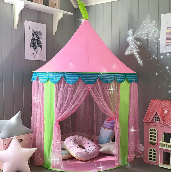 "Kids Tent Princess Castle for Girls - Glitter Castle Pop Up Play Tent with Fairy Stick and Tote Bag- Children Playhouse Toy for Indoor and Outdoor Game 41"" X 55""(DxH) - mbrbproducts"