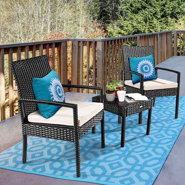 Patio Garden Outdoor with Beige Cushions 3 Pieces Rattan Wicker Furniture Set - mbrbproducts