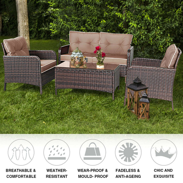 Outdoor Patio Rattan Wicker Furniture Set Sofa Loveseat with Cushions 4 PCS - mbrbproducts