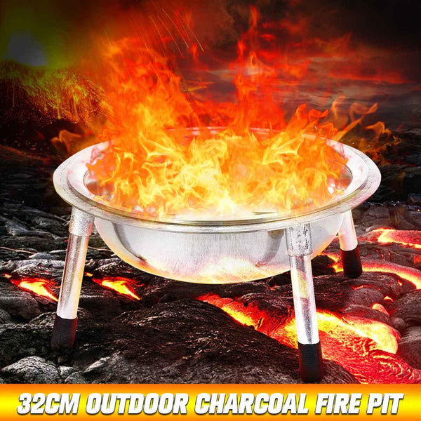 32cm Metal Charcoal Fire Pit Outdoor Camping Garden BBQ Bowl Grill Pan - mbrbproducts