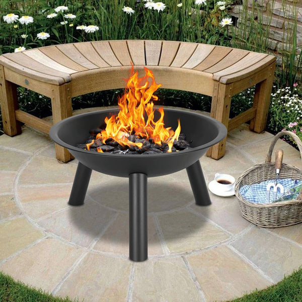 22 Iron Fire Pit Bowl Outdoor Wood Burning Firepit for Camping Picnic - mbrbproducts