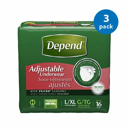 Adjustable Underwear Maximum Absorbency, Large/Extra Large, 3 Packs of 16 - mbrbproducts