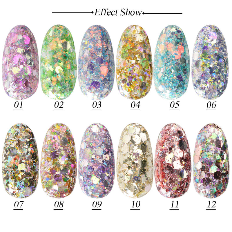 1 Box Nail Mermaid Glitter Flakes Sparkly Colorful Sequins Spangles Polish Manicure Nails Art - mbrbproducts