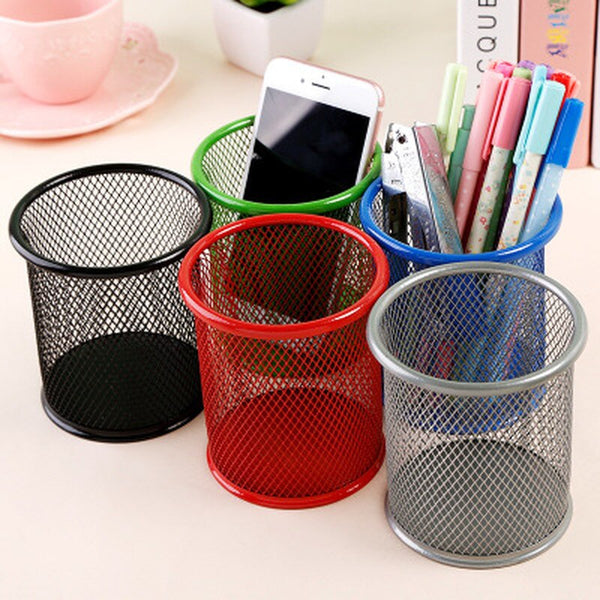 1Pcs Metal Pen Holder Multifunctional Office Organizer Mesh Style Square Round Desk 2020 - mbrbproducts